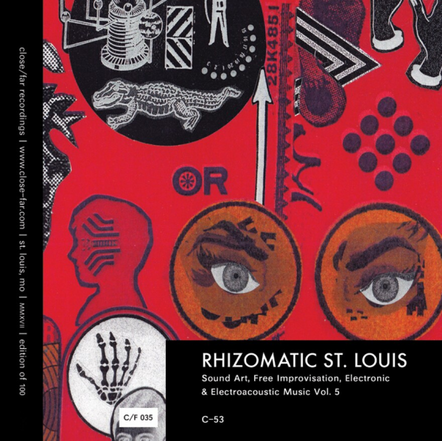Two eyes peer out of a red field and an alligator rests below celestial machinery in the collaged cover of Rhizomatic St. Louis 5