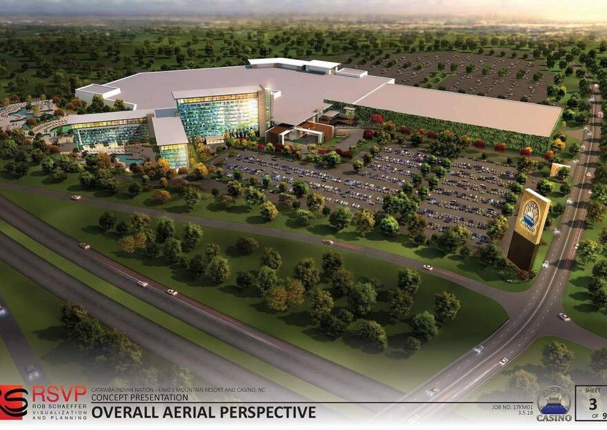 An artist's rendering shows the proposed Catawba casino and resort at I-85 Exit 5 in Kings Mountain.