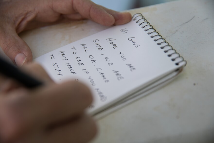 Tim Sands leaves a note for his relatives hoping to connect after Dorian forced residents to abandon their homes.