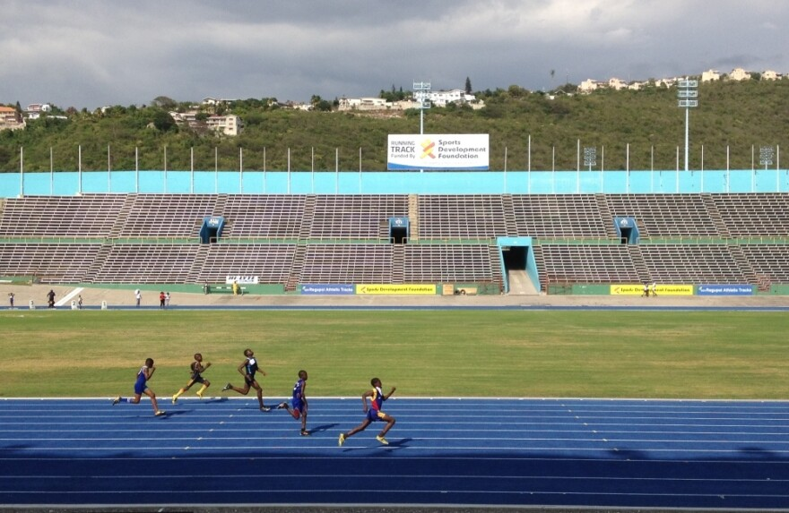 Jamaican teens and preteens compete in the island's track championships at the National Stadium in the capital, Kingston.