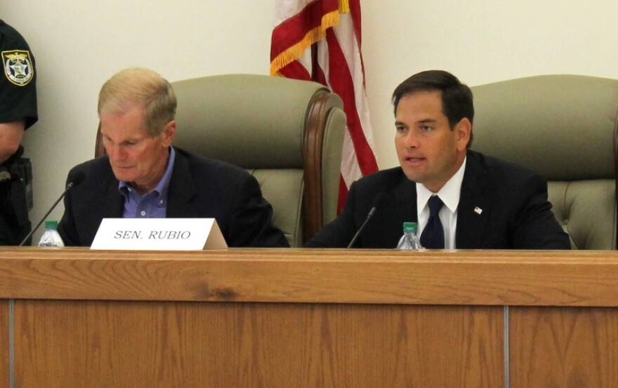 U.S. Senators Bill Nelson (D-FL) and Marco Rubio (R-FL) at the Senate Committee on Commerce, Science, and Transportation field hearing Apalachicola on August 13, 2013.