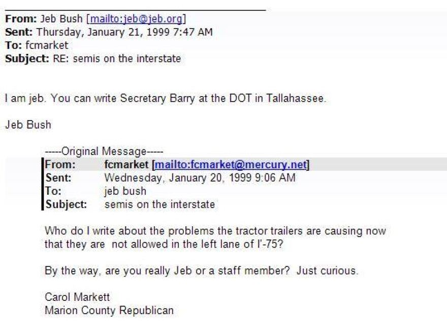 A January 20, 1999 email from Jeb Bush.