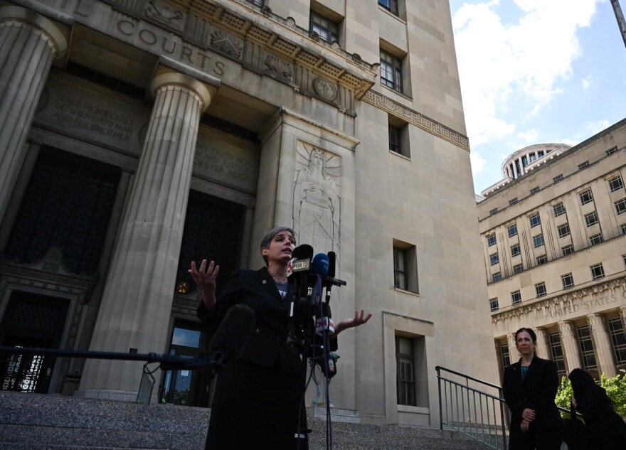 M'Evie Mead, director of Planned Parenthood Advocates of Missouri, addresses reporters outside the St. Louis Circuit Courthouse on May 30, 2019.
