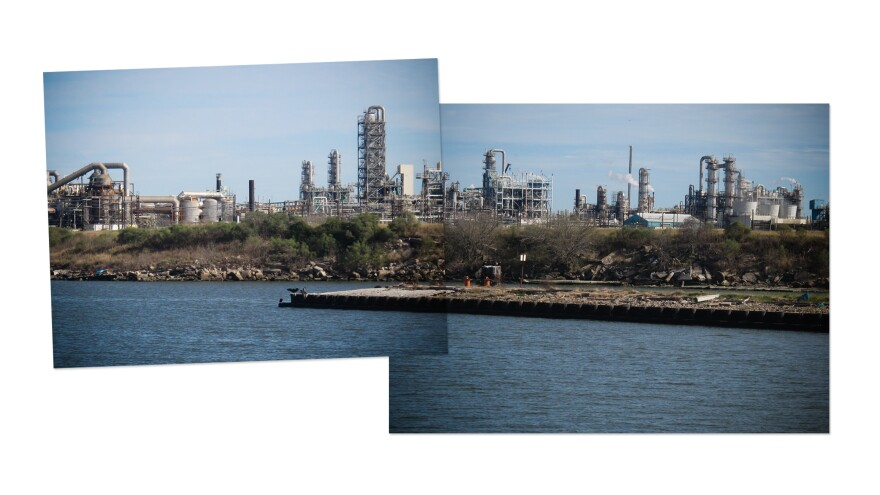 Image composite of the Houston Ship Channel.