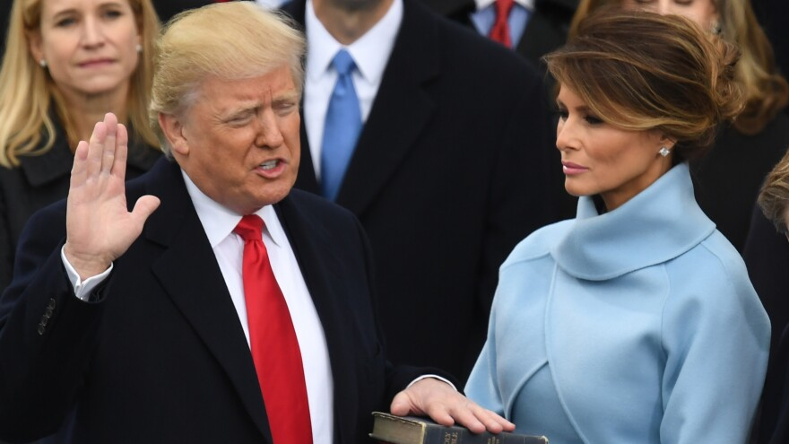 Donald Trump, with wife Melania, is sworn in as president on Jan. 20, 2017, at the U.S. Capitol in Washington, D.C.