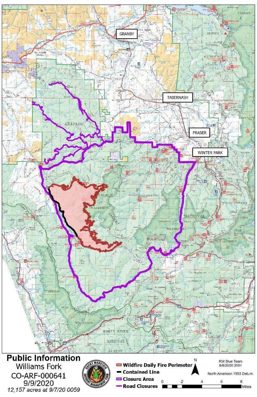 Williams Fork Fire map for Sept. 9, 2020