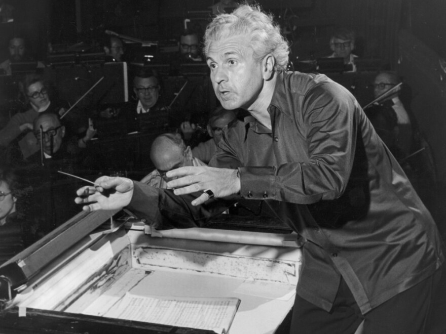 Julius Rudel, photographed (ca. 1970) in rehearsal with the orchestra of the New York City Opera, spent more than three decades with the company.