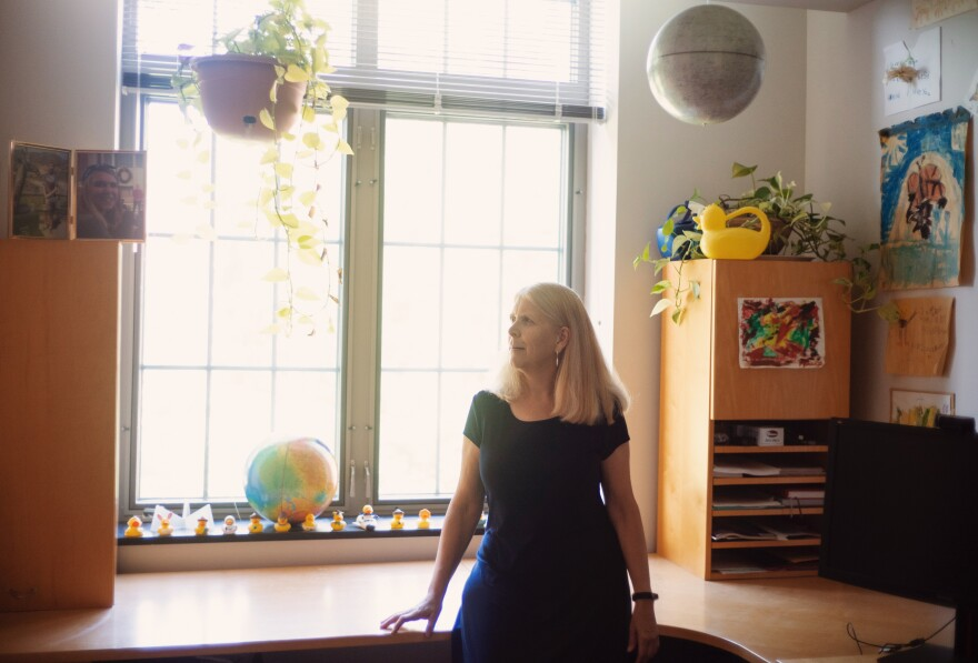 Darby Dyar in her office at Mount Holyoke College in Massachusetts.