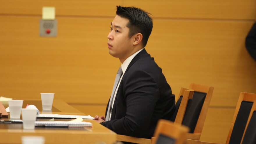 New York City police Officer Peter Liang sits in court as testimony is read back for jurors during deliberations in Brooklyn Supreme Court this week.