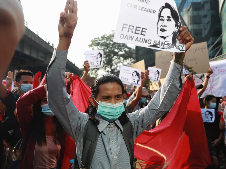 Thousands of people rallied against the military takeover in Yangon, Myanmar's most populous city, on Sunday. They demanded the release of Aung San Suu Kyi, whose elected government was toppled by the army that also imposed an Internet blackout.