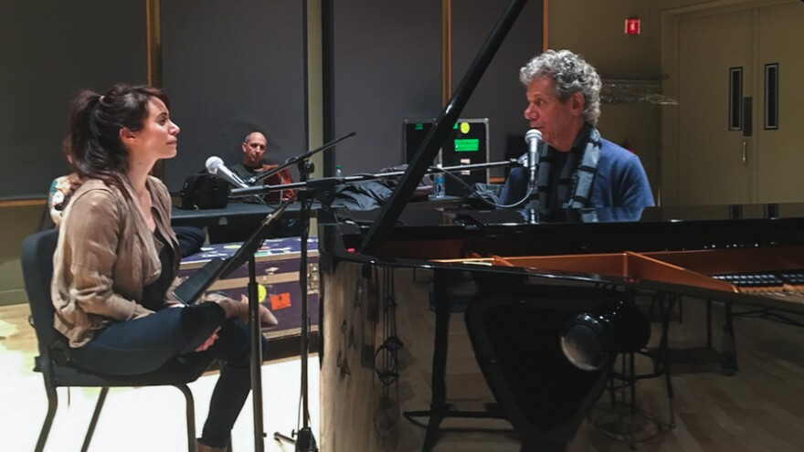 World Cafe host Talia Schlanger sitting with Chick Corea during rehearsal at Jazz at Lincoln Center in New York City.
