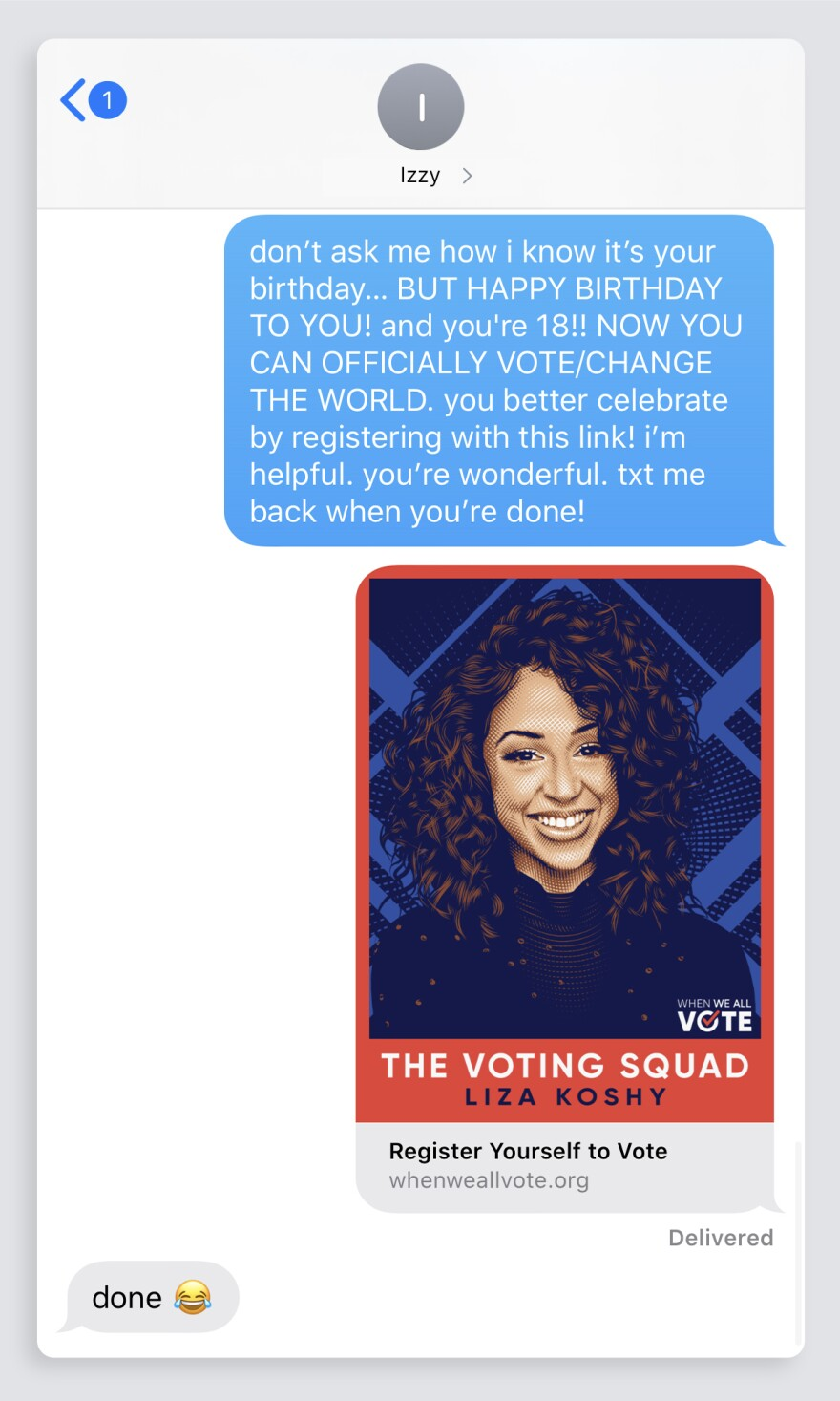 As an outreach effort, When We All Vote teamed up with a text messaging platform to remind young voters to register.