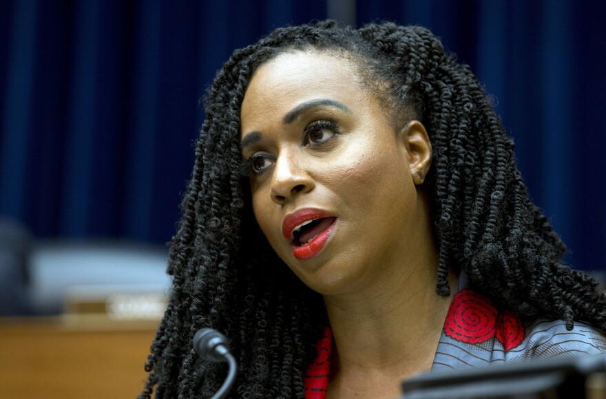 Pressley, shown here during a subcommittee meeting in October, has worn her hair in Senegalese twists for years.
