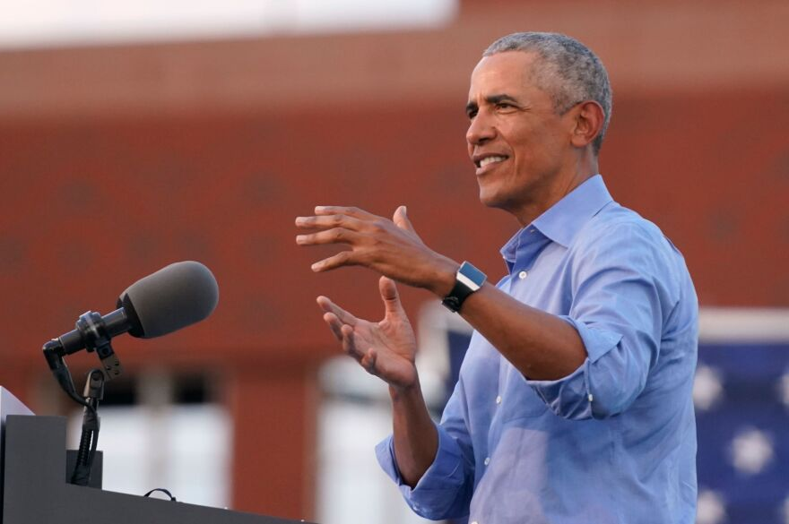 Former President Barack Obama addresses Biden-Harris supporters during a drive-in rally in Philadelphia on Wednesday.