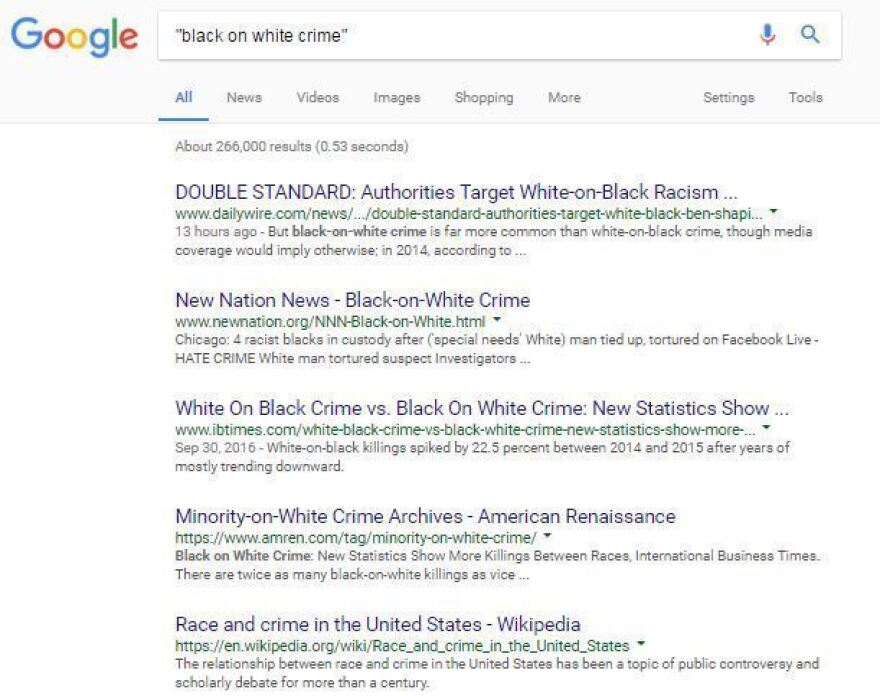 "An NPR search for the term ""black on white crime"" elicited these top results."
