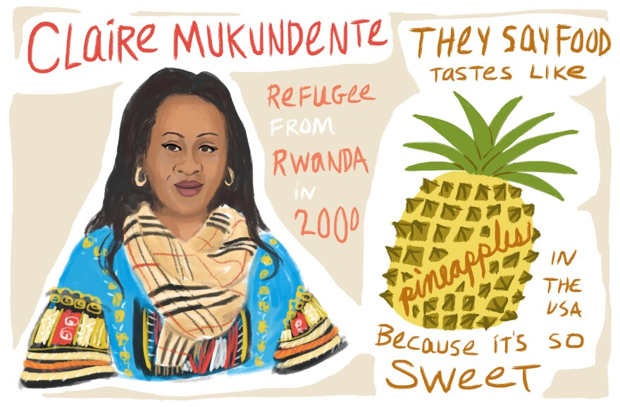 Claire Mukundente is a refugee from Rwanda.
