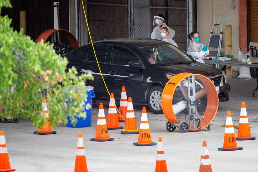 Austin Public Health's drive-thru coronavirus testing site in North Austin.