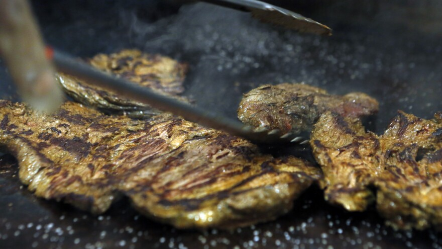 Delicious flank steak sizzles on the grill at Boloco's 19th Street location in Washington, D.C.