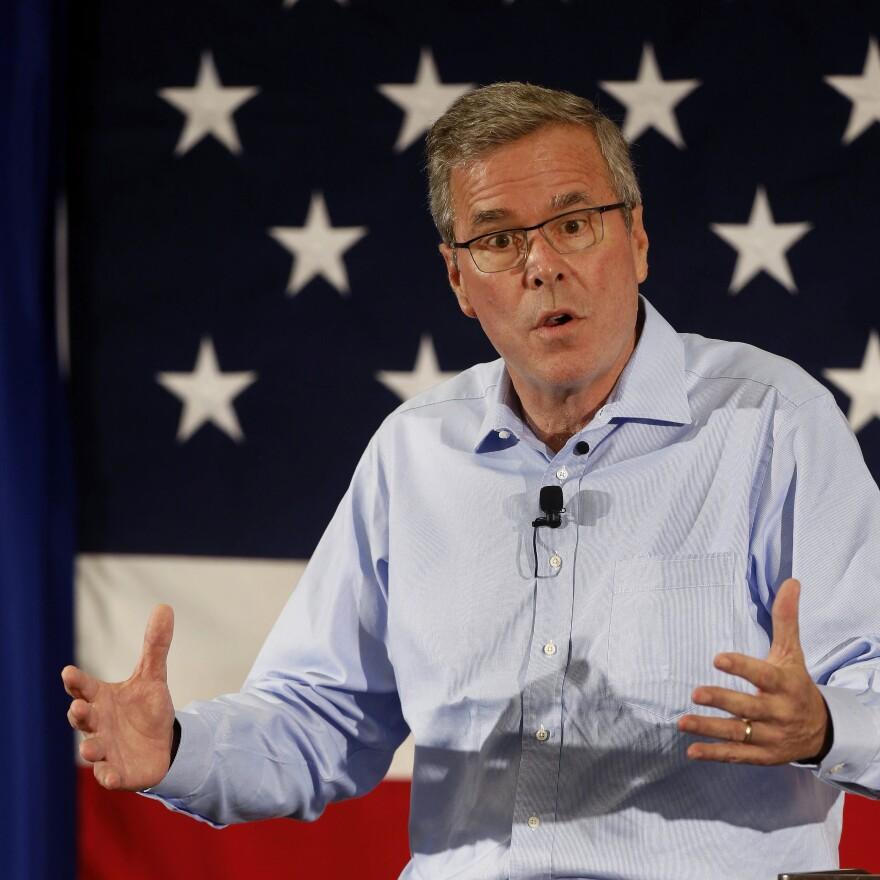 Former Florida Gov. Jeb Bush speaks at the Republican Leadership Summit Friday in Nashua, N.H.