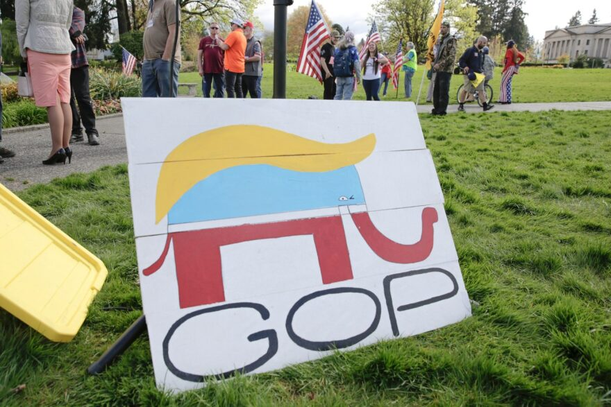 A Republican Party elephant logo is pictured with the hair of US President Donald Trump during a demonstration against Washington state's stay-home order at the state capitol in Olympia, Washington.