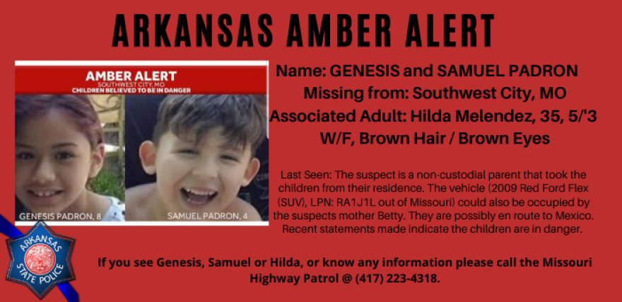 Amber alert issued 7/9/20 for Genisis and Samuel Pardon.  Authorities believe they are en route to Mexico.