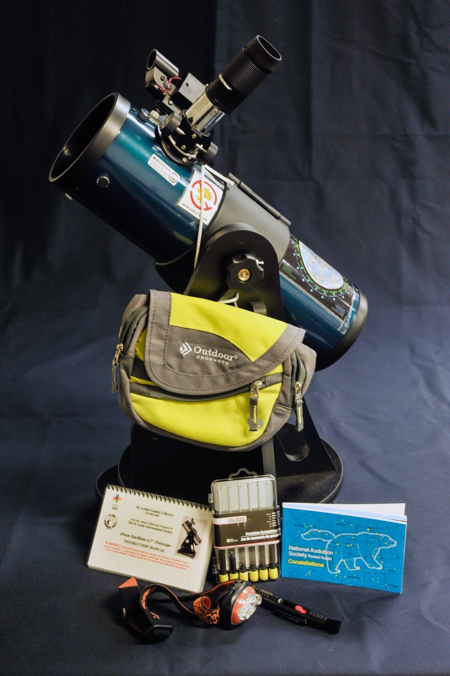 """Every Orion StarBlast 4.5"""" telescope in the library program comes with a quick-start guide, user manual, constellation booklet, moon map, lens cleaner, and headlamp."""