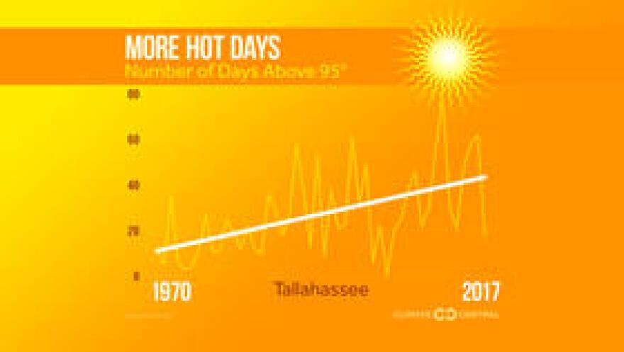 The number of days where temperatures get above 95 degrees is trending upward in Tallahassee.