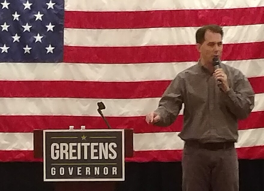 Wisconsin Gov. Scott Walker at Sunday's rally for Eric Greitens, GOP nominee for Missouri governor.