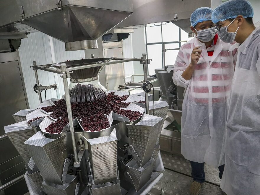 At Karat Farm's manufacturing facility in Taicang, the company takes tons of fruit and repackages it for resale in China. At its peak, the company will process about 2,000 pounds of dried U.S. cranberries per day.