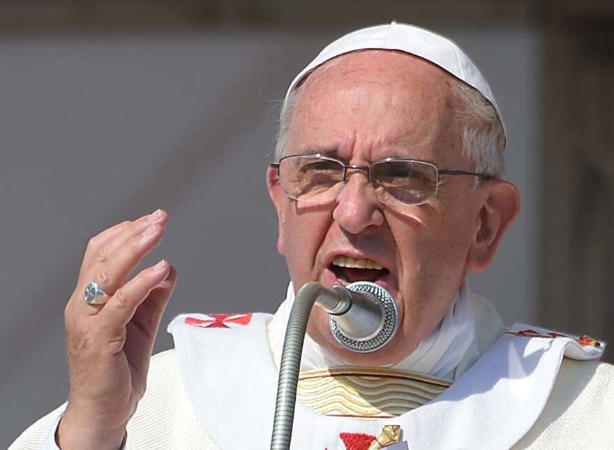Pope Francis delivers his homily as he celebrates mass in Sibari, in the southern Italian region of Calabria on Saturday.