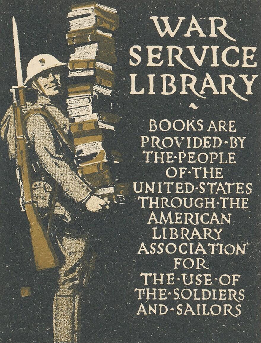 A War Service Library bookplate.