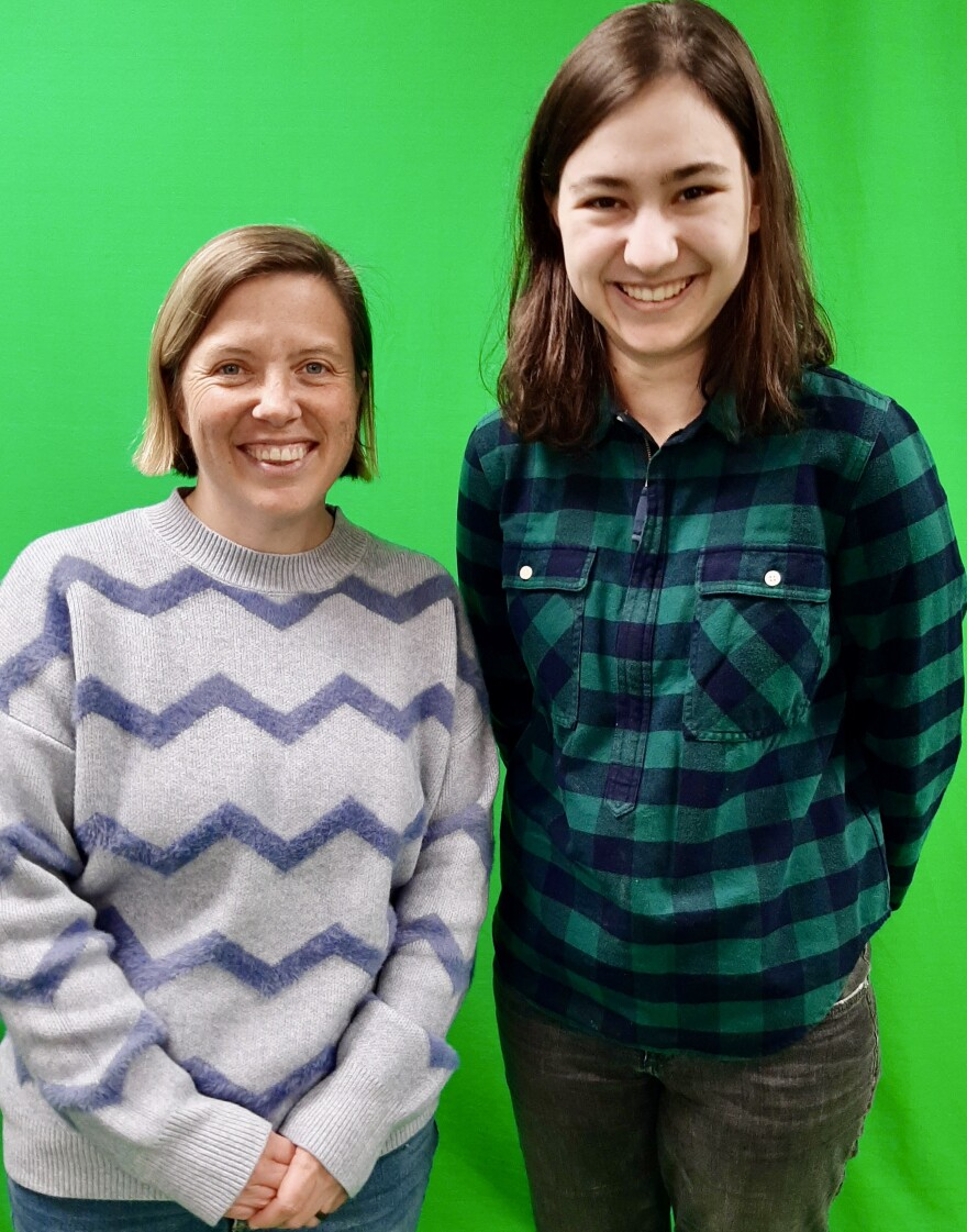 Corey Cockerill teaches Agricultural Communication at Wilmington College, with her student Lucy Enge.