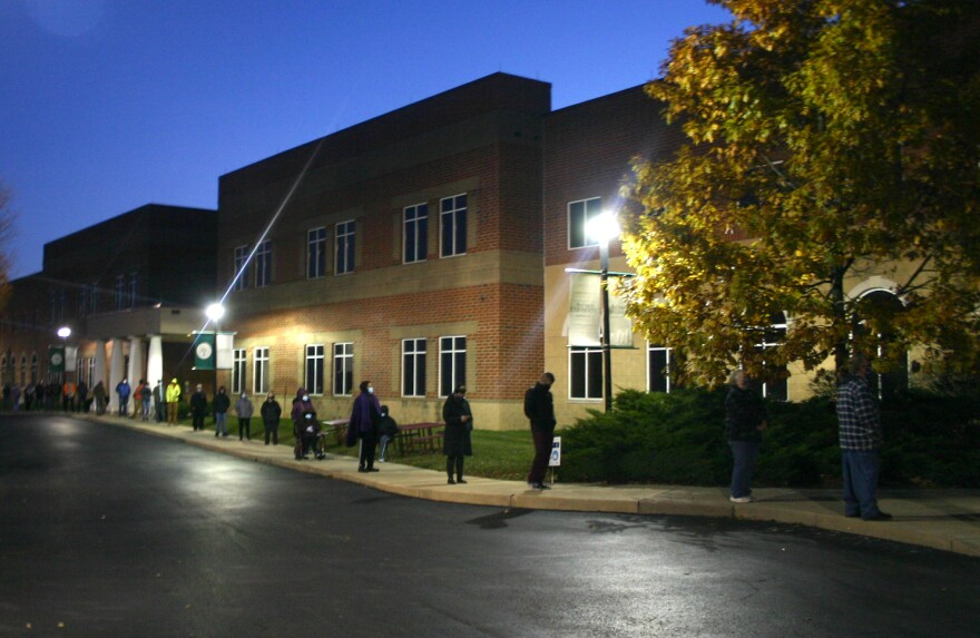 Voters in Yellow Springs lined up before sunrise to cast their ballots in the 2020 election.