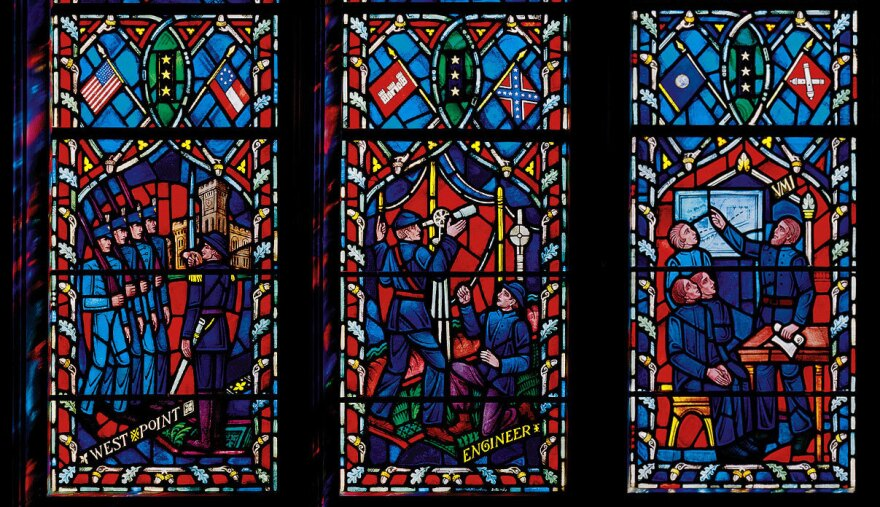 The set of windows at the Washington National Cathedral honors Confederate Gens. Robert E. Lee and Stonewall Jackson, showing scenes from their lives.