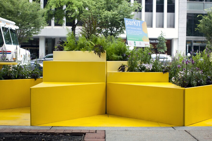 The parklet is designed to be used in many different ways. The designers hope that it is a welcoming environment, and that pedestrians will stop and sit for a while.