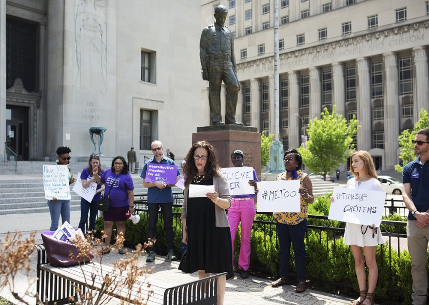 Rabbi Susan Talve speaks a rally outside the Civil Courts Building on May 10, 2018.