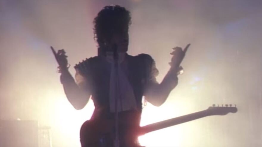 "A still from Prince's video for ""Let's Go Crazy."""