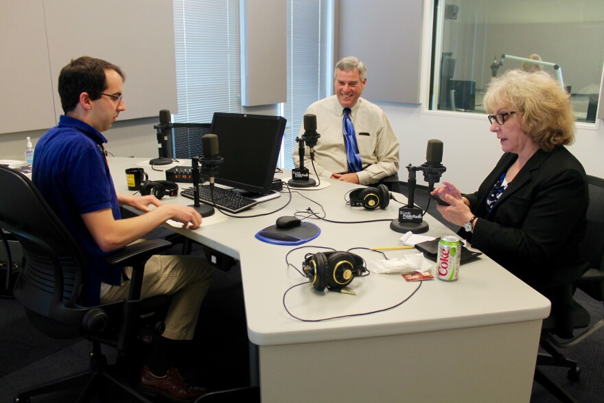 St. Louis Public Radio's Jason Rosenbaum and Jo Mannies talk with McCulloch before a recording of the Politically Speaking podcast.