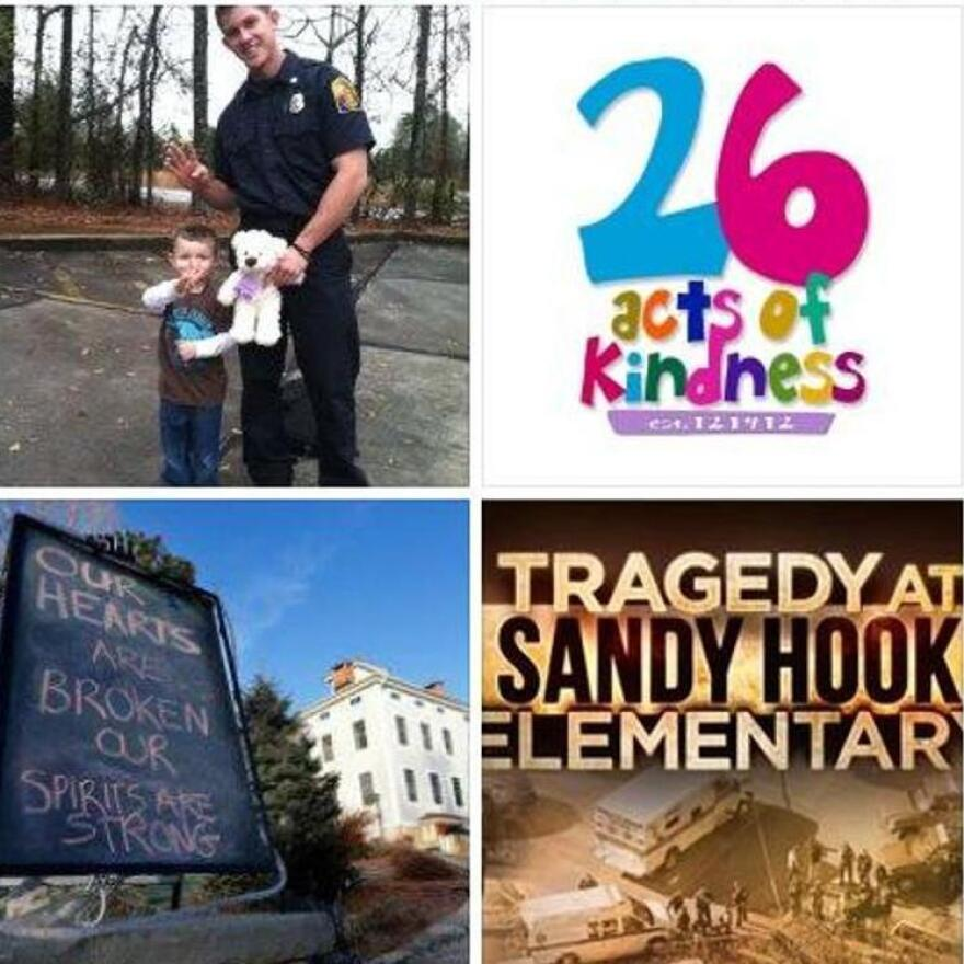 "Stories and photos are coming in to the ""26 Acts of Kindness"" Facebook page."