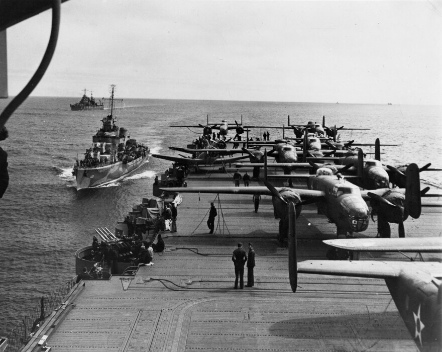 The attack against Japan was the result of coordination between the Army Air Forces and the U.S. Navy, which carried the 16 North American B-25 medium bombers aboard the carrier USS Hornet to within take-off distance of the Japanese Islands.