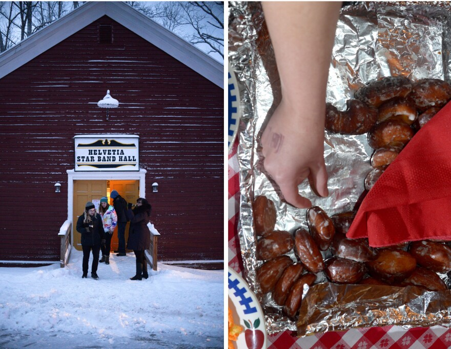 (Left) Warm light spills from the Helvetia Star Band Hall, aka, the Red Hall. (Right) Refreshments, including Fasnacht donuts, were served at the Masked Ball at the Community Hall.