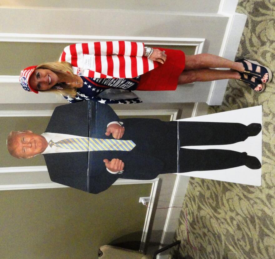 Caroline Wetherington and cutout of President Trump