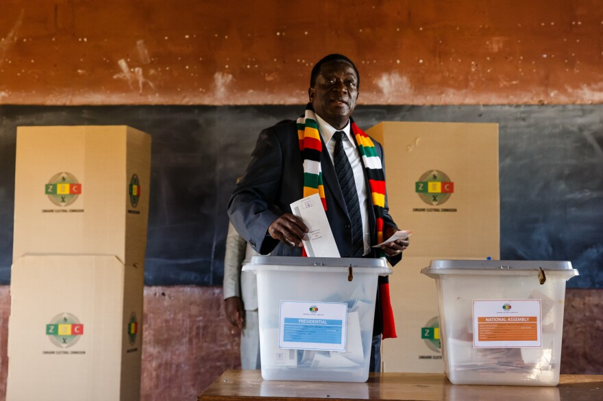 President Emmerson Mnangagwa casts his ballot Monday at Sherwood Primary School in Kwekwe. Last year Mnangagwa's predecessor, Robert Mugabe, was ousted after ruling Zimbabwe for 37 years.