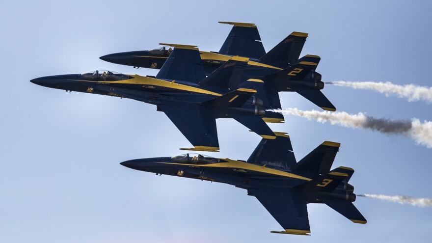 A Navy pilot who flew with the Blue Angels — some of the group's planes are seen here last September — was killed in a crash southwest of Nashville on Thursday afternoon.