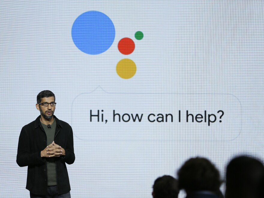 Google CEO Sundar Pichai talks about the Google Assistant, which will power the company's new line of smartphones and a voice-activated speaker.