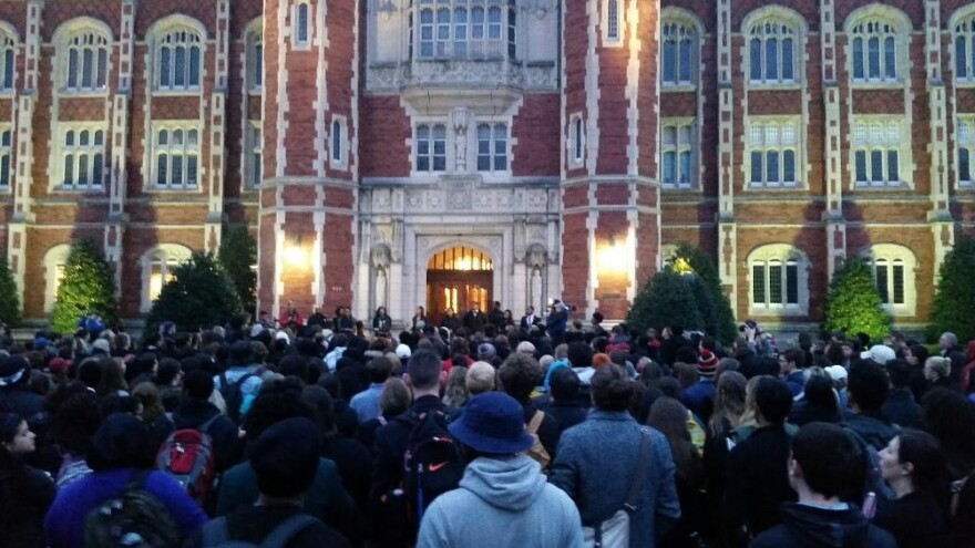 Monday morning, students gathered outside the University of Oklahoma's main offices to protest a racist video that was reportedly made by members of the Sigma Alpha Epsilon fraternity.