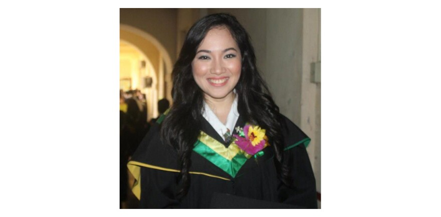 Villamer at her graduation from the Universidad de Sta. Isabel in 2013 where she earned a nursing degree.