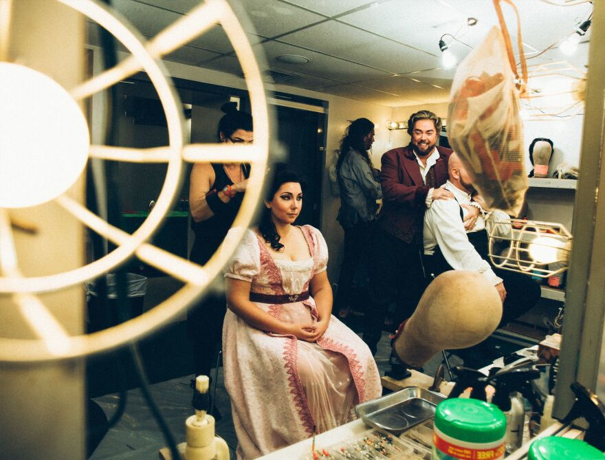 The cast of <em>Tosca</em> prepares to perform with the Nashville Opera at the Tennessee Performing Arts Center.
