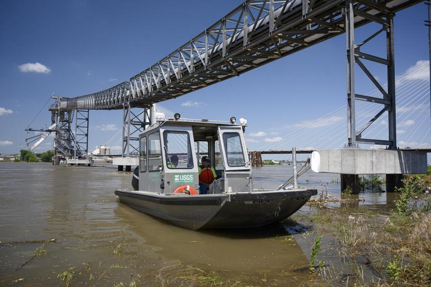 Trent Legg, a U.S. Geological Survey hydrological technician, spent much of Wednesday taking flow measurements of the Mississippi River in the St. Louis area.