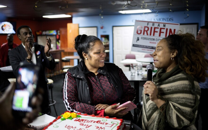 Supporters congratualte Fran Griffin on her city council seat win at her election watch party in Ferguson on April 2.